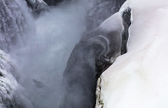 The fissure (Jo Evans1- On and off for a while - really busy!) Tags: gulfoss waterfalls iceland majestic vast snow icy spray beauty the fissure