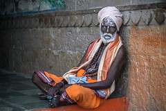 colorful sadhu (andy_8357) Tags: ancient sadhu varanasi india hindu hinduism orange classy beautiful amazing old distinctive sony 6000 a6000 ilce6000 alpha ilcenex canon 50mm f14 fd manual focus vintage prime lens bokeh black south indian colorful guru sitting relaxed relaxing scarf turban beads portraiture portrait person baba e emount mirrorless ganga ganges mother