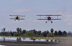 Biplanes Head On (dcnelson1898) Tags: maranaregionalairport marana arizona aviation airplane airplanes runway radialengine aerobatics stearman biplane pittss2s buckroetman garyrowerairshows