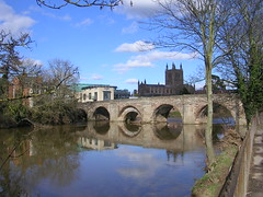 Part of the River Wye and the one of the bridges over it (southglosguytwo) Tags: 2018 city clouds hereford march sky riverwye wyebridge trees