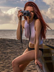 Veronika Issa (Eric Zumstein) Tags: veronikaissa malibu california unitedstates us model redhead clouds beach