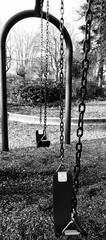 Memories of Childhood (jillyclarky) Tags: chains blackandwhite playground childhood swingset swings