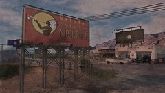 Natural American Spirit - Motorheadz Cafe (ᗷOOᑎᕮ ᗷᒪᗩᑎᑕO) Tags: sl secondlife motorheadz cafe rocket route66 americana american culture barren dessert signage garage car sand dust landscape texas virtual flickr 2018 today painting oil landmarks places retro vintage
