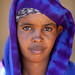 Portrait of a somali woman in blue hijab, North-Western province, Berbera, Somaliland