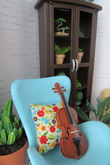 3. Violin waiting (Foxy Belle) Tags: doll skipper mod diorama living room 16 barbie vintage miniature dollhouse scene girl plants cabinet