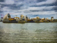 Blocking the Thames (Steve Taylor (Photography)) Tags: art architecture blue brown yellow red green river uk gb england greatbritain unitedkingdom london texture floodgate hydraulics scoop thames thamesbarrier barrier woolwich