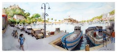 Cassis - Provence - France (guymoll) Tags: googleearthstreetview croquis sketch aquarelle watercolour watercolor cassis provence france port harbour bateaux ships boats