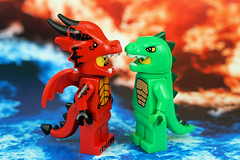 Clash of Dragons (Lesgo LEGO Foto!) Tags: lego minifig minifigs minifigure minifigures collectible collectable legophotography omg toy toys legography fun love cute coolminifig collectibleminifigures collectableminifigureseries16 series lego71021 71021 dragonsuitguy dragonsuit guy dragon suit lizardman lizard series5 icefire fireice fire ice battle clashofdragons clashofdragon clash clashes series18 18
