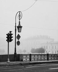 The Lantern Bridge in the Fog (Vladimir Serebryanko) Tags: stpetersburg saintpetersburg spb russia bridge bw blackandwhite monochrome fog lantern