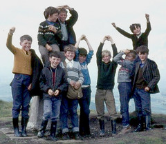 At camp (theirhistory) Tags: children kids boys school jumper jeans trousers jacket wellies wellingtonboots