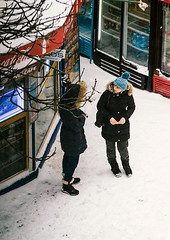 colors (lera_abrakadabra) Tags: everydaylife reallife ukrainian life casual people realpeople talks talkinggirls women snow winter streetphotography streetpeople red blue granit11n granitlens vintagelens
