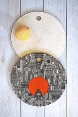 space city red sun cutting board (Scrummy Things) Tags: sharonturner illustration scrummy denydesigns fantasy blackandwhite red cuttingboard kitchen