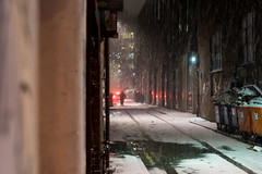 American Cop Show Scene (Nick Thorne, Bodian Photography) Tags: manchester england streetscene buildings bybodianphotography nightscene flickr snow themed photographer rubbish colour car light movement bynickthorne location vehicle weather transport