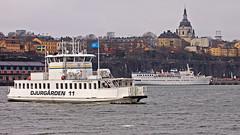The commuter boat Djurgården 11 and the ship Birger Jarl in Stockholm (Franz Airiman) Tags: båt boat ship fartyg pendelbåt djurgårdsfärja waxholmsbolaget djurgården11 birgerjarl stadsgården strömmen stockholm sweden scandinavia winter vinter is ice katarinakyrka söder södermalm katarinavägen