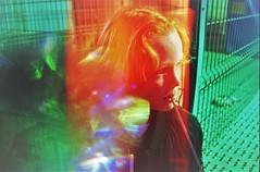 Red Redhead (cestlameremichel) Tags: canon ae1 photo porst color x 200 expired film 2005 funfair lights neon 35mm 35mmers analog analogue colorful argentique foire aux plaisirs bordeaux france blur portrait orange green light leak leaks experimental psychedelic
