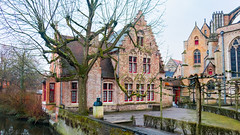 Monument to Juan Luis Vives... In Bruges... (keriarpi) Tags: fairytale town bruges brugge belgium travel traveling travelling holiday bridge unesco cityscape city pano panorama world heritage bonifacius water tree building sky river architecture monument juan luis vives house park