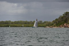 LOX_3699 (Lox Pix) Tags: australia queensland brisbanetogladstone yachtrace catamaran trimaran 2018 bossracing multihull loxpix moretonbay shorncliffe cabbagetreecreek rudder aground sailing