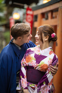 Multi-Ethnic couple in kimono embracing