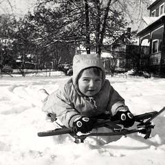 Catherine on her sled, Rochester, NY (ali eminov) Tags: rochester newyork seasons winter snow children catherine sledding