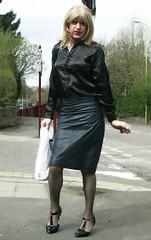Walk Back (Amber :-)) Tags: navy leather pencil skirt tgirl transvestite crossdressing