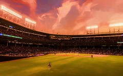 Field Of Dreams (Wes Iversen) Tags: chicago chicagocubs illinois newyorkmets nikkor18300mm wrigleyfield baseball fans firstinning lights men nightgame painterly people players sky sports stadium stands sunsets wrigleyville