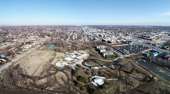 Centennial Park - Oak Lawn, IL - 3-17-2018 - Drons Panoramic (Rick Drew - 19 million views!) Tags: oaklawn il illinois centennial park facelift construction cook county trees forest grove playground grass field ballpark fence heavy equipment progress dji drone phantom4pro p4p sky pano panoramic