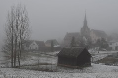 World of fog (:Linda:) Tags: germany thuringia village bürden mist snow fog tree barn church march23 nobw