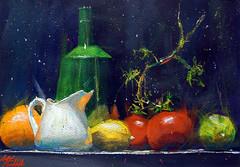 Pot à lait et tomates (andremehu) Tags: fineart painting gouache stilllife stillleben naturemorte fruit tomato tomate bodegon lemon