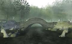 Don't cross that bridge till you come to it (Decorizing) Tags: orchidtree tree lb sl jian beagle peacock water bridge windmill daises