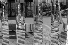 mirror...mirror (Riex) Tags: miroirs mirrors reflections reflets plaza place neighborhood neighbourhood sfba sanmateo california californie bw blackandwhite noiretblanc tmax iso400 expired film folder folding kodak retina iiic schneiderkreuznach xenon 50mm f2 rangefinder analog analogue silverhalide baymeadows monochrome