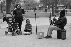 The Song Speaks (solas53) Tags: blackwhite bw blackandwhite black white monochrome street washington dc candid music musician saxophone people busker