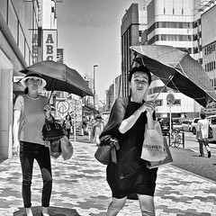 harajuku, japan (michaelalvis) Tags: asia bw blackandwhite candid city citylife fujifilm japan japanese japon monochrome nihon nippon peoplestreet portrait people peoplestreets parasol streetphotography streetlife street travel tokyo x70 harajuku