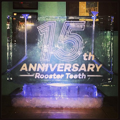 Happy 15th #anniversary to our friends @roosterteeth Have a fun celebration with your #iceluge today! #fullspectrumice #thinkoutsidetheblocks #brrriliant - Full Spectrum Ice Sculpture