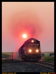 Blowing Smoke at Mondovi (funnelfan) Tags: train railroad railway shortline locomotive pnw pacificnorthwest eastern washington gateway ewg cw centralwashington wheat grain smoke sunset surreal climb mondovi sd40t2