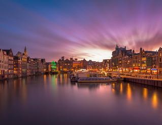 Dusk at Damrak, Amsterdam