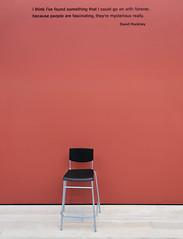 At The Hockney Exhibit (Russ Allison Loar) Tags: davidhockney lacma foundart losangelescountrymuseumofart chair absence vacant modernart exhibit wall emptyspace humor davidhockneyquote artist painter museum famousquote