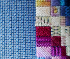 18 holes per inch - needlepoint project (Monceau) Tags: needlepoint canvas project blue colorful blocks hole holes odc macro fancy stitches
