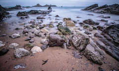 Get your rocks off (NikNak Allen) Tags: plymouth devon heybrookbay beach sand coast rock stone stones seaweed water sea ocean seascape jagged horizon sky low early morning pov wide smooth longexposure shore shoreline wet rain tide