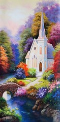 The Church, Art Painting / Oil Painting For Sale - Arteet™ (arteetgallery) Tags: arteet oil paintings canvas art artwork fine arts building travel old sky ancient church landmark europe tree history summer house outdoor stone historical famous historic culture religion sunny scenery buildings wall sun forest water houses autumn colorful fall outdoors christian god christ cities surreal fantasy pink purple paint