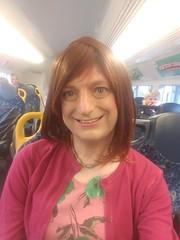 Pink Friday (justplainrachel) Tags: justplainrachel rachel cd tv crossdresser trans smile selfie selfportrait pink green floral dress frock cardigan