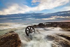 Wheel sets || Wingdang Island (David Marriott - Sydney) Tags: lakeillawarra newsouthwales australia au winding island wheel set train bogies sea dawn sunrise waves rock seascape illawarra nsw long exposure
