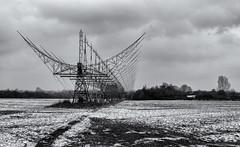 4C Array (David Feuerhelm) Tags: nikkor snow radar clouds radiotelescope mullard cambrdgeshire nikon d750 2470mmf28 blackandwhite bw monochrome noiretblanc schwarzundweiss