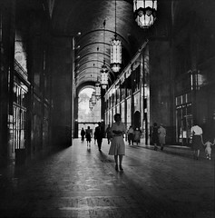Lobby of the Fisher Building, Detroit Michigan. July 1942. (polkbritton) Tags: arthursiegel 1940s detroithistory michiganhistory fsaowi vintagefashion artdeco architecture libraryofcongresscollections
