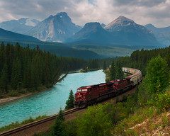 The Waiting Game (Aron Cooperman) Tags: aroncooperman banff banffnationalpark california canadianrockies escaype johnstoncreek lakes landscape morainelake morant'scurve mountains openlightphoto reflection rockymountains sept2017 sunrise sunset vermilionlakes wbpa waterfalls nikond800 alberta canada train railroad bowriver sky river water forest