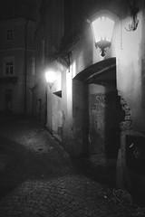 (deeluuu) Tags: lublin night oldtown gate blackwhite czarnobiałe mood atmosphere light shadow street cobbles alley