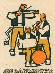 lithuanian matchbox label (maraid) Tags: lithuanian matchbox label lithuania music band trumpet violin accordion drum