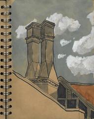 Lodge chimneys (Alextree) Tags: thelodge chimneys urban urbansketchers memorial garden
