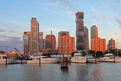 Jersey City Sunrise (russ david) Tags: jersey city nj new sunrise architecture hudson river boat june 2017