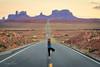 Namaste on the Highway (Jonathan Tasler) Tags: monumentvalley highway goldenhour yoga sunset road desert
