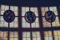 Three Muses (Clive Varley) Tags: thestorey lancaster stainedglass march2018 gimp2100